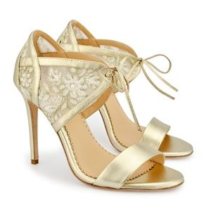 Bella Belle Bootie Heel Lace Embroidered Gold Even